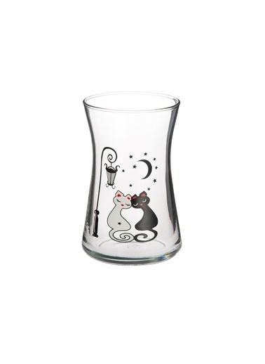 Miss Primax 6 Lı Heybeli Çay Bardağı Kedi Desen Renkli